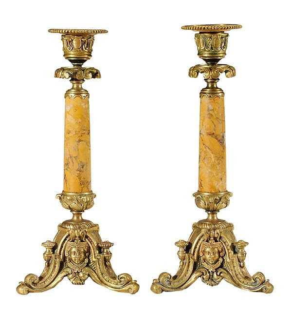 Pair Sienna Marble and Gilt Bronze