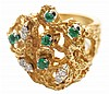 Diamond and Emerald Fashion Ring