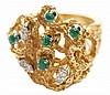 Diamond and Emerald Fashion Ring