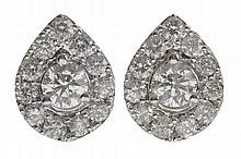Pair Diamond Cluster Earrings