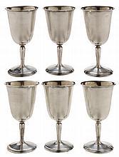 Six Sterling Goblets