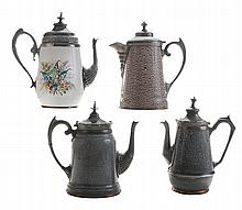 Four Graniteware Coffeepots