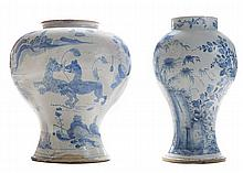 Two Delft Blue and White Decorated