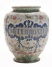 Early Delft Drug Jar With Clobbered
