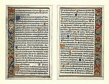 [Medieval manuscripts]. Two manuscript leaves from