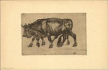 Dupont, P. (1870-1911). Twee ossen. Etching on zin