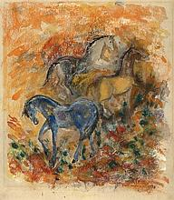 Klein, F.F.A. (1898-1990). (Horses). Drawing, colo