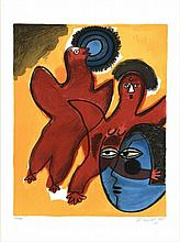 Corneille (1922-2010). (Two birds and a face). Col