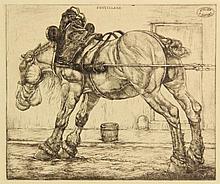 Dupont, P. (1870-1911). Rustend trekpaard. Etching