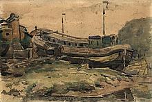 Jordens, J.G. (1883-1962). (A boat near the shore)