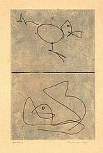 Ernst, M. (1891-1976). (Two figures). Etching and