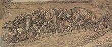 Dupont, P. (1870-1911). (Farmer and four oxes plow