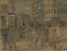 Grijzen, W. (1905-1994). (Lively streetscene). Car