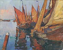 Koets, [?] (20th cent.). (Moored sailing ships). O