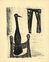Elenbaas, V.H. (1912-2008). (A bird on a chair). L