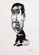 [Murakami]. Bos, M. (b.1976). (Portrait of Haruki Murakami). Drawing, pen a