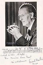 [Music]. Martin, F. (1890-1974). Photogr. portrait w. AUTOGRAPH music quota