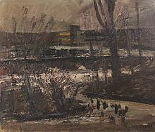 Steyn, W. (1914-1980). Poldersloten. Painting, oil on panel, 64x74,5 cm., s