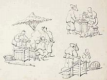 Anonymous (late 19th cent.). (Scenes from Chinese daily life). Fourteen lea