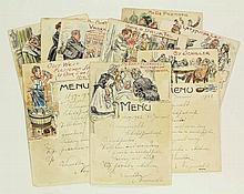 [Menu-cards]. Landré, J.C.L. (1875-1952). Lot of 10 menu cards, dated 1922,