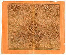[Paper]. Brocade paper, orange painted sheet w. gilt floral decoration, ±35