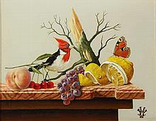 Verhoef, H. (b.1932). (Still life with butterfly, glass of wine, fruit and