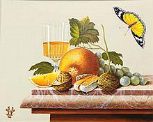Verhoef, H. (b.1932). (Still life with red cardinal bird, butterfly and fru