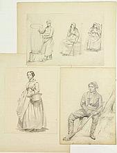 Anonymous (19th cent.). Lot of ±300 figure studies, ±1830-1850, prob. Dutch