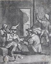 Gole, J. (±1660-1737) (style of). (Cardplaying monkeys). Mezzotint, 21,5x17