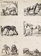 Laer, P. de (1592-1642). The set of the horses. Series of 6 etching, printe