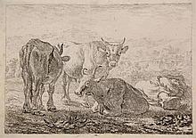 Laer, P. de (1592-1642). Set of various animals. Lot of 6 (of 8) etchings f