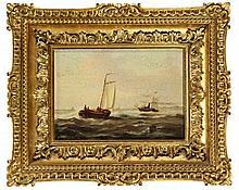 Heemskerk, C. (19th cent.). (Ships at sea). Oil on panel, 12x17 cm., signed
