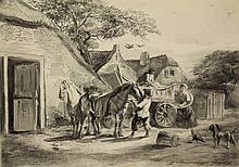 Craeyvanger, G. (1810-1895). Boerenerf met paarden, figuren en een boerenwa