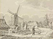 Cruijs, G. (19th cent.). (Village view with a mill and two farmhouses on a