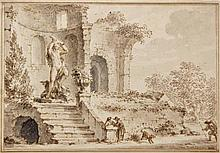 Anonymous (18th cent.). (Two (draughts?)men at the base of the stairs of a
