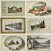 [Decorated borders]. Collection of ±70 picture postcards with