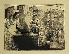Rembrandt van Rijn (1606-1669). Christ and the woman of Samaria among ruins