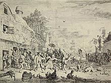 Dusart, C. (1660-1704). The large village fair. Etching, 26,5x34,4 cm.,