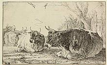Hecke I, J. van den (1620-1684). Resting cows. Etching from The set of the