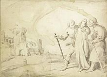 Quast, P.J. (1606-±1647). (Christ's appearance on the road to Emmaus). Draw