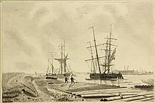Anonymous (19th cent.). (View of a lumber port, ships in the background). D