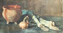 Arntzenius, P.F.N.J. (1864-1925). (Still life with pot, onion and leek). Wa