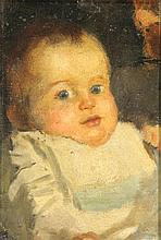 Arntzenius, P.F.N.J. (1864-1925). (Portrait of Liesje as a baby). Oil on ca