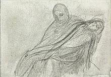 Minne, G. (1866-1941). (Piëta). Drawing, soft pencil, 13x18,5 cm., signed