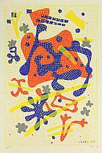 Nebel, O. (1892-1973). (Untitled composition). Col. silkscreen, 53x35,2 cm.