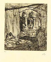 Bauer, M.A.J. (1867-1932). Eene slavin. Etching, 1889, 6,5x5,6 cm., monogra