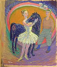 Melgers, H.J. (1899-1973). (In the circus). Gouache on paper, 56x47 cm., si