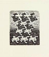 Escher, M.C. (1898-1972). Vissen en kikkers. Woodengraving, 8,1x7,1 cm., mo