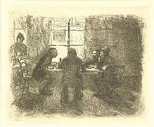 Kollwitz, K. (1867-1945). Vier Männer in der Kneipe. Etching, 12,8x15,2 cm.