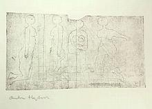 Heyboer, A. (1924-2005). (Four women). Etching, 29,2x50,8 cm., signed